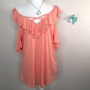 Miss Me Size XL coral crisscross cold shoulder top